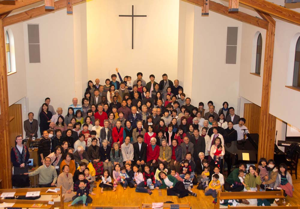 Nagasaki Baptist Church Christmas Day congregation photo